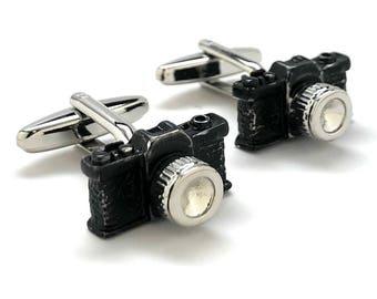 Old School Black Enamel Camera 35mm Cufflinks Cool Photographer Fun Cuff Links Comes with Gfit Box