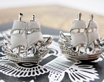 Ocean Schooner Cufflinks Silver Tone with White Enamel Boats Sails Sailing Ship Cuff Links