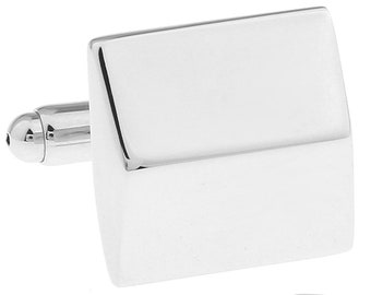 Men's Cufflinks Shiny Silver Falling Slopes and Eaves Block Edged Classic Cufflinks The Big Day with Gift Box