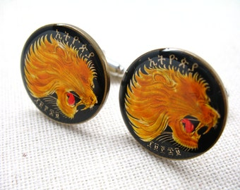 Birth Year Birth Year Enamel Cufflinks Lion Africa Ethiopia Yellow and Black Hand Painted Enamel Coin Jewelry Cuff Links Jewelry
