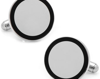 Stainless Steel Round Engravable Framed with Onyx Cufflinks Men's Executive Cuff Links