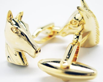 Stable Horse Cufflinks Gold Tone Head Mustang  Cuff Links
