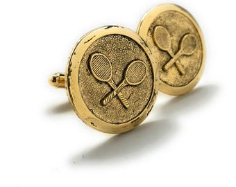 Professional Tennis Racket Cufflinks Round Gold Tone Ace Serve Classic Retro Vibe Very Cool Cuff Links