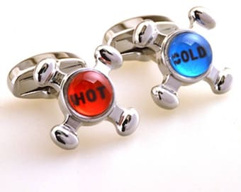 Red and Blue Cufflinks Hot and Cold Faucet Cuff Links Popular for the Builder or Contractor in Our Lives Gift Box White Elephant Gifts
