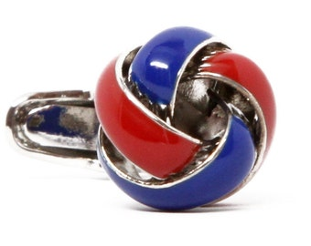 Classic Silver Navy Blue and Red Twisted Knots Cufflinks Cuff Links