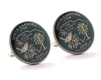 Enamel Cufflinks Hand Painted South Carolina Suit Flag State Enamel Coin Jewelry USA United States America Palmetto Tree Charleston