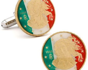Enamel Cufflinks Italy Liberty Flag Green Red White Premium Hand Painted Enamel Coin Jewelry Cuff Links Italian Enameled Coin Cufflinks