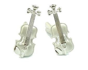 Music Collection Matte Finish Silver Tone Viola Violin Instrument Cufflinks Violinist Music Cuff Links