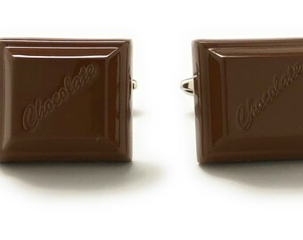 Milk Chocolate Cufflinks Everything's Better with Chocolate Lovers Delight Fun Cool Unique Cuff Links Candy Bar Gifts for Him Husband Dad
