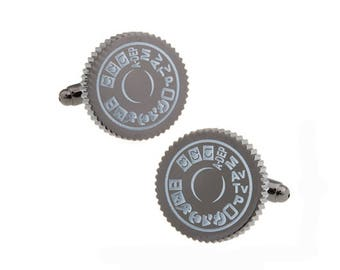 Camera Mode Dial Cufflinks Black Enamel Light Mode Photographers Hobby Cool fun Picture Photo Enthusiast Cuff Links