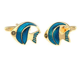 Gold Turquoise Colored Angelfish Saltwater Fish Ocean Reef Cufflinks Cuff Links