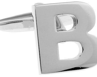B Initial Cufflinks Silver 3-D Letter B Block English Letters Cuff Links Groom Father of the Bride Wedding Father's Day Gift Box