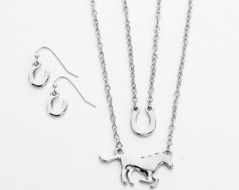 Silver Run For the Roses 3 Piece Set For Lover of Horses Horse Shoe Necklace Earrings set