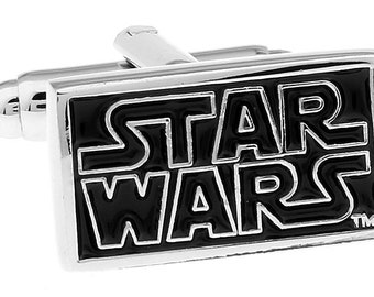 Vintage Star Wars Logo Cuff Links Cufflinks Silver Space The Star Wars Classic FIrst Movie Cool Comes Box