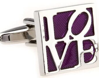 All You Need is Love Cufflinks, Silver Purple Square LOVE