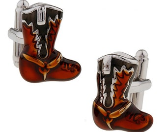 Western Cowboy Boots Cufflinks Antique Orange Brown Black Color Enamel Boot Cuff Links
