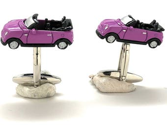 Fuchsia Convertible Car Cufflinks Hot Violet Color Finish Collection Classic Fun Cool Unique Cuff Links Comes with Gift Box