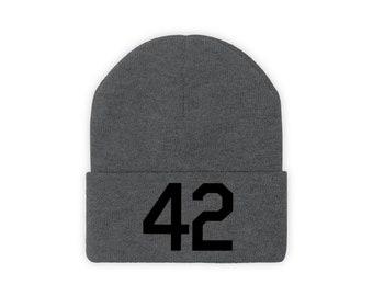 Knit Beanie Number Forty Two Honoring Baseball's Barrier Breaker 42 stocking cap