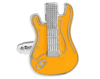 Electric Guitar Cufflinks Silver and Orange Enamel Guitar Jewelry Music Rock and Roll Band Comes with Gift Box