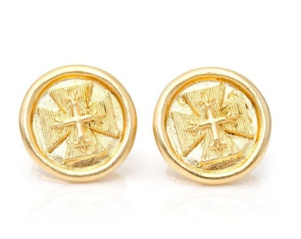 Byzantine Cross Cufflinks Gold Tone Cuff Links