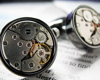 Steampunk Vintage Gunmetal Watch Movement Cufflinks Whale Tale Circular Functional Cuff Links