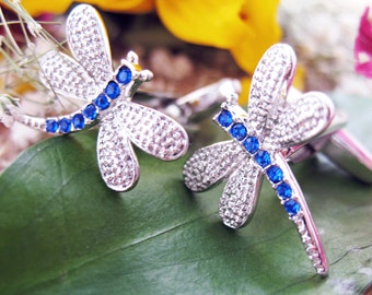 Crystal Dragonfly Cufflinks Silver Toned Navy Blue Dragonfly Bug Cuff Links