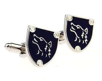 Silver Tone Blue Werewolf Wolf Shield Cufflinks Cuff Links