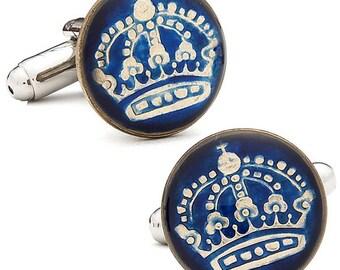 Enamel Cufflinks Hand Painted Swedish Enamel Coin Jewelry Blue Enamel Royal Crown Coins Sweden Cuff Links Keepsake Very Cool Unique World