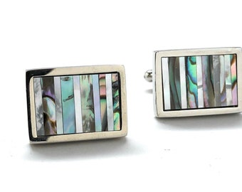 Abalone Shell Silver Trim Cufflinks Distinctive Look cross pattern cut Real Shell Cool Mother of Pearl Cuff Links Comes with Gift Box