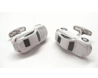 Classic White Racing Sports Car Cufflinks 3D Design Cool Fun Collection Cuff Links Comes with Gift Box