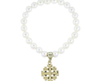Cross Bracelet PearlStretch Bracelet with Gold Jerusalem Cross Charm Bracelet Comes with Gift Box Vatican Collection