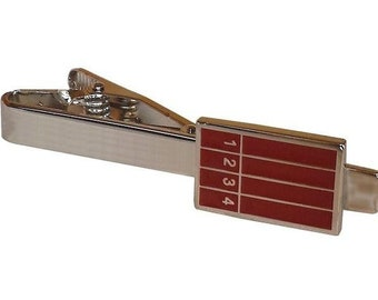 Running Track Tie Clip Tie Bar Silver Tone Very Cool Comes with Gift Box