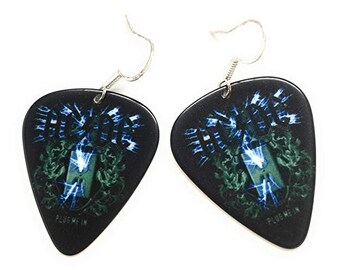 AC DC Guitar Pick Earrings ACDC Classic Rock Black Blue Earrings