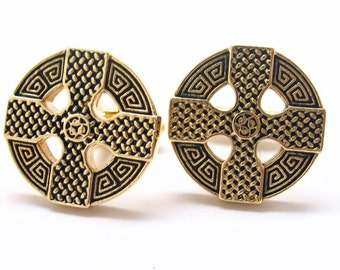 Celtic Cross Cufflinks Full Raised Details Big Gold Tone Cuff Links