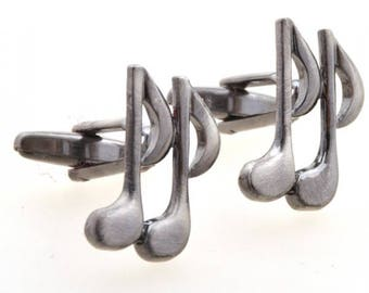 Gunmetal Tone Double Music Notes Cufflinks 3D Detailed Cut Out Design Cuff Links Comes with Gift Box