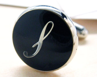 Initials Cufflinks S Silver Round Black Enamel Script Letters Vintage Cuff Links Groom Father of the Bride Wedding Anniversary Cuff Links