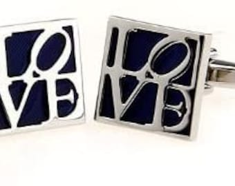 All You Need is Love Cufflinks, Silver Blue Square LOVE