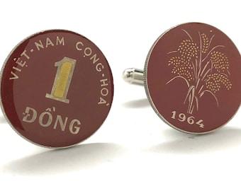 Vietnam Flag Gold-tone Cufflinks Money Clip Engraved Gift Set