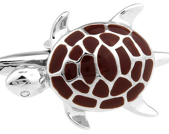 Silver Tone & Maroon Turtle Cufflinks Pond Animal Cuff Links
