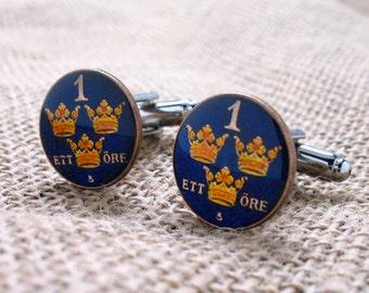 Enamel Cufflinks Hand Painted Swedish Ore Cuff Links Enamel Coin Jewelry Money Three Crown Royal Finance Accountant