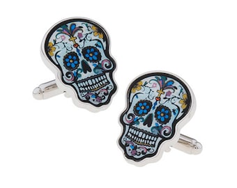 Day of the Dead Celebrations Skull Cufflinks Mexican Holiday Cuff Links Mexican Wedding Halloween Cufflinks