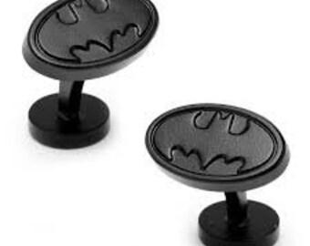Vintage Batman Logo Cuff Links Cufflinks Sign of the Bat Straight Post Batman Movie Cool Comes Box