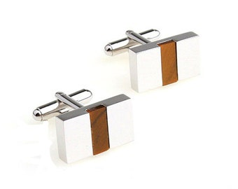 Silver Bands Wood Cufflinks Norwegian Wood Band Stripe Cuff Links Classic Design Mens Wear Wood inlay gifts for him Gifts for Boyfriend