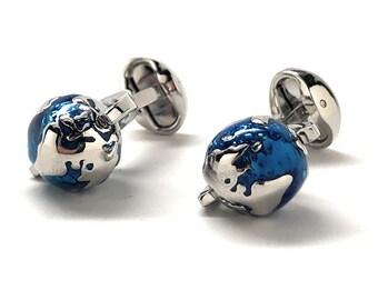 Spinning Globe Cufflinks Aqua Marine Blue Around the World