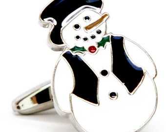 Frosty the Snowman Cufflinks Christmas Winter Wonderland Christmas Family Parties Work Party Cuff Links