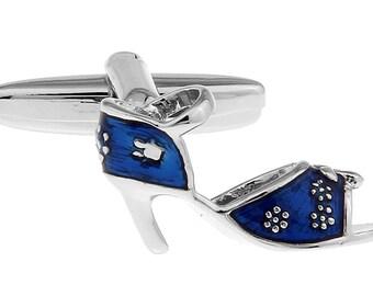 Ladies  High Heel Shoes Blue Floral Heels Women's  Cufflinks Cuff Links