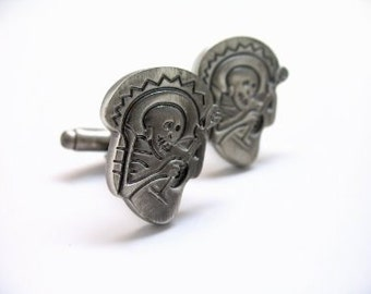 Mariachi Ghost Cufflinks Antique Skeleton Band Cuff Links Halloween Cufflinks Mexican Wedding Cufflinks Day of the Dead White Elephant Gifts