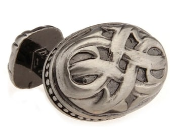 Designer Sculpted Pewter Oval Woven Weave Celtic Cufflinks Staight Post Heavy Detailed Style Cuff Links