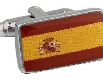 Men's Executive Cufflinks Shiny Silver Spain Flag Bandera de España Flag Cuff Links