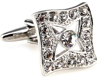 Silver Center Star Cufflinks Cut Crystals Formal Wear Cuff Links Cufflinks